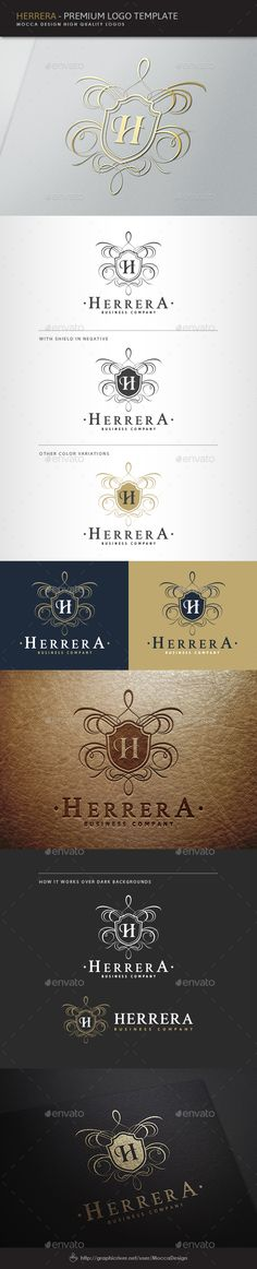 Buy Herrera Logo by MoccaDesign on GraphicRiver. UPDATES - All fonts of the logo changed to Free fonts and Help File updated. – New color versions and. Half Up Wedding Hair, Jewelry Logo, Jewellery, Crest Logo, All Fonts, Script Fonts, Personal Identity, Premium Logo, Wedding Logos