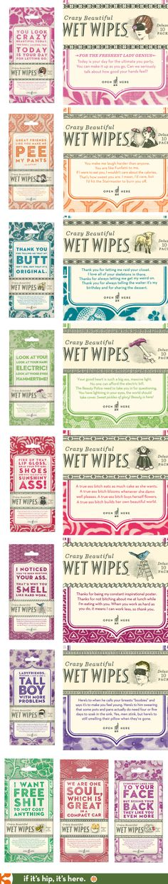 Crazy Beautiful Wet Wipes. Nicely designed packaging with hilarious copy.