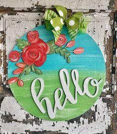 Wooden Door Signs, Wooden Door Hangers, Wooden Doors, Painted Signs, Painted Wood, Unicorn Painting, Pintura Country, Spring Door, Porch Signs