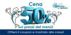 Pagherai solo il 50% sui prezzi riportati nel menù, vino incluso!  Clicca sul link http://clik-ka.com/1kNB2 per ottenere il coupon da mostrare alla cassa e avere lo sconto del 50% sui costi del menu.