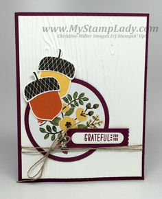 Use your patterned paper to create a focal image. Into The Woods Patterned Paper. Stampin' Up! Acorny Thank You bundle for a thank you card. Embossed background with the Woodgrain embossing folder. www.mystamplady.com