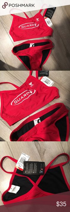 Red lifeguard bathing suit NWT never worn, perfect for beach lifeguard or any pool life guard, super cute fit! TYR Swim Bikinis