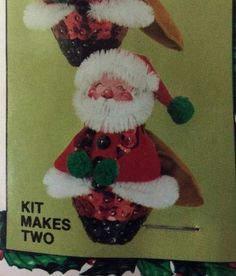 Santa's Delivery Vtg Christmas Ornament Kit Styrofoam Makes 2 Sequin Poms Felt | eBay