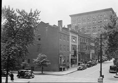 1936 CATHEDRAL ST SCENE BALTIMORE OLD CARS B&W