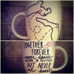 State to State Coffee Mug - Long Distance, Best friends, Siblings, Going Away. Adorable