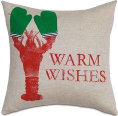 Holiday Lobster Pillow: Coastal Home Decor, Nautical Decor, Tropical Island Decor & Beach Furnishings