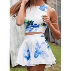 Wholesale Sexy Round Neck Sleeveless Tank Top + High-Waisted Floral Print Skirt Women's Twinset Only $7.02 Drop Shipping | TrendsGal.com