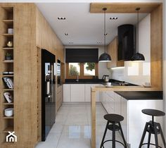 Nice layout at the entrance to the open kitchen - wardrobe on the side of the wardrobe and counter Kitchen Room Design, Kitchen Cabinet Design, Modern Kitchen Design, Home Decor Kitchen, Interior Design Kitchen, Kitchen Furniture, Home Kitchens, Wooden Kitchen, Cuisines Design