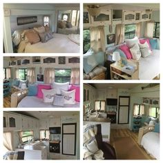 5th wheel/camper/rv renovation and decorating.  Great ideas for organizing and making things feel bigger.  She even used the rustoleum cabinet transformation kits!  LOVE! Great DIY projects