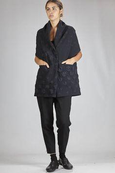 Shu Moriyama | long vest in polyester cloth with frame effect and smooth circle texture | #shumoriyama
