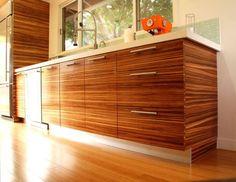 Zebrawood cabinets, modern kitchen, mid-century modern