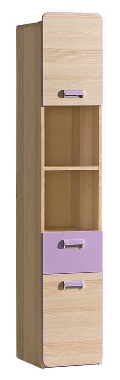 LORENTTO, regál L3, jasan/fialová Systém LOIRENTO se skládá z 16 prvků v barevném provedení jasan combria v kombinaci s fialovou nebo limetkou. Tento široký výběr vám zaručí si sestavit nábytek podle svých představ. Celá řada … Green Ash, Police, Bookcase, Drawers, Shelves, Cabinet, Doors, Colour, Furniture