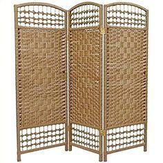 Oriental Furniture 4 ft. Tall Fiber Weave Room Divider - Natural - 3 Panels ORIENTAL Furniture