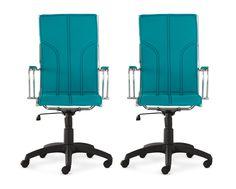 Conjunto Cadeira Donati encosto alto - Turquesa - 2 peças