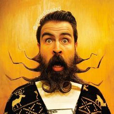 Funny Artwork Unique Beard Styles, Isaiah Webb transforms his beard into unique and works of art. Creative beard and facial hair designs are styled by Isaiah's wife Angela. Bearded Lady, Bearded Men, Moustaches, Crazy Beard, Short Beard, Long Beards, Beard Tattoo, Beard No Mustache, Beard Care
