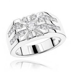 Luxurman 14k Gold Men's 1 1/2ct TDW Diamond Ring (G-H, SI1-SI2) (14k Rose Gold Size 10.5), Pink