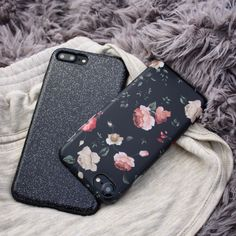 Sweet dreams loves  Glam Case in Black & Dark Rose Florals for iPhone 7 & iPhone 7 Plus from Elemental Cases