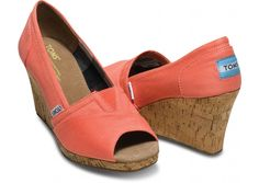 Coral Canvas Women's Wedges $69