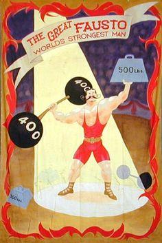 old timey circus strongman