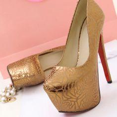Round Closed Toe Super High Stiletto Bronze-Color Pumps #ShopSimple