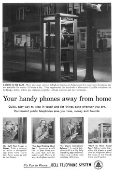"""payphone ad. """"Your handy phones away from home"""" ! http://www.porticus.org/bell/images/yourphonesawayfromhome.gif"""