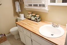 Butcherblock Bathroom Countertop Easy Diy For House Oh And Gl Jars