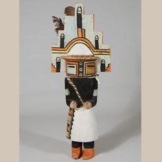 Photograph; Hemis Circa. 1930 Culture; Hopi Pueblo. Medium; cottonwood, feathers, textiles and oil stain. Size: h. 14 7/8 Item; 25561 COPYWRITE © Adobe Gallery