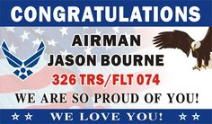 Personalized Congratulations Airman U. (US) Air Force Basic Military Training Graduation Banner (Flag BG), Alice Graphics Graduation Banner, Graduation Shirts, Airforce Bmt, Diy Mother's Day Food, Air Force Basic Training, Valencia, Air Force Girlfriend, Military Mom, Military Crafts