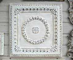 Vintage Tin Ceiling. Circa 1910. Architectural salvage. FRAMED 2'x2' Ready to Hang. Great for magnet board.