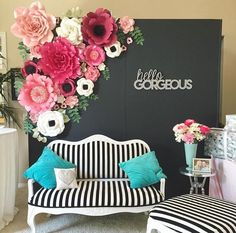42 New Paper Flower Backdrop Ideas . Wedding Backdrop Huge White Paper Flowers Pinned On the Party Decoration, Backdrop Decorations, Wedding Decorations, Backdrop Ideas, Party Kulissen, Party Ideas, Bridal Shower Backdrop, Backdrop Wedding, Paper Flower Backdrop