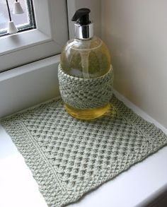 Lace Mesh Liquid Soap and Wash Cloth/Dish Cloth Set