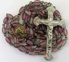 Vtg Purple Glass Bead Rosary Religion Spirituality Christianity Christ Mary