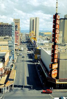 ❥ Fremont St, Las Vegas, 1978. Seen from a room at Union Plaza Hotel. via