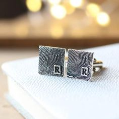 Inked Monogram Square Fingerprint Cufflinks - perfect for everyday wear or special days, wear on your wedding day, a gift for the Father of the Bride, Father's Day...whatever the occasion they are sure to become his favourite cufflinks.