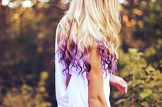 Blonde Hair with Purple Dip Dyed Ends