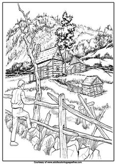 In farmer house in village adults architectures coloring pages  below you can give a color to farm...