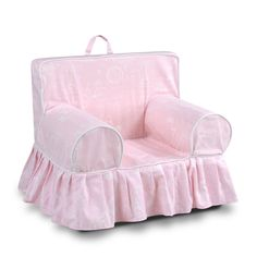 Addison Skirted Grab-N-Go Kids' Foam Chair With Handle - Paris Bella Pink With White Welt - Kangaroo Trading Co. Addison Skirted Grab-N-Go Kids' Foam Chair With Handle - Paris Bella Pink With White Welt - Kangaroo Trading Co.
