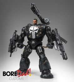 Mecha Punisher custom action figure from the Marvel series using ML Mandroid as the base, created by BoreDad Customs. Punisher Marvel, Marvel Comics, Dc Comics Action Figures, Custom Action Figures, Big Robots, Fantasy Miniatures, Fantasy Armor, Toys Photography, Marvel Legends