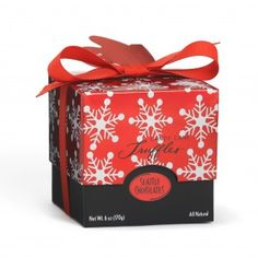 Red Snowflake (6 oz)  A festive gift box filled with crunchy candy cane dark chocolate truffles.