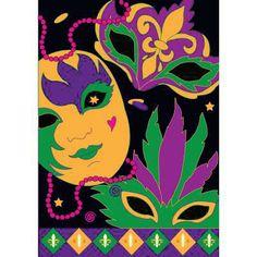 "29"" x 42"" Mardi Gras Celebration House Flag - Only $29.99 !!"