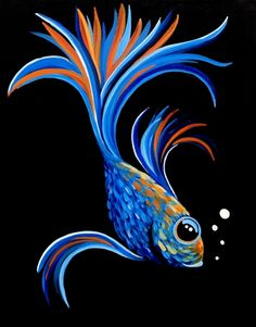 Find the perfect thing to do tonight by joining us for a Paint Nite in Edmonton, AB, Canada, featuring fresh paintings to be enjoyed over drinks! Black Canvas Paintings, Acrylic Painting Canvas, Animal Paintings, Paintings With Black Background, Black Canvas Art, Fish Paintings, Beginner Painting, Pastel Art, Fish Art