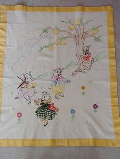 Charming Vintage 1930's Baby Crib Cover Tinted by auntnonniesnest