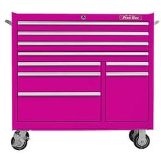 "The Original Pink Box 41"" 9 Drawer 18G Steel Rolling Pink Tool Cabinet 1"