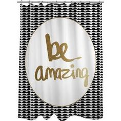 Thumbprintz Be Amazing Black And Gold Shower Curtain 50 Curtains