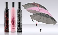 Add a quirky touch to rain protection with wine-bottle-shaped carrying cases that feature a whimsical design