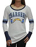 San Diego Chargers NFL Womens Ribbed Long Sleeve Shirt (Vintage Look) L White