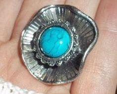 Silver Toned Arizona Southwestern Style Acrylic Turquoise Adjustable Ring
