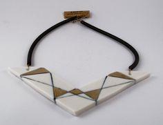 Triangular porcelain bib necklace white gold Geometric ceramic jewelry