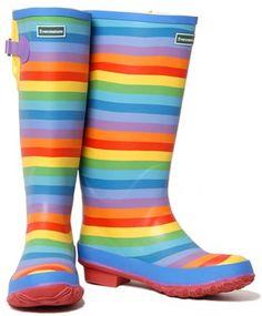 Evercreatures Rainbow Wellies - Rainbow Patterned Wellingtons