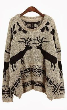 Dear Print Cozy Oversized Sweater